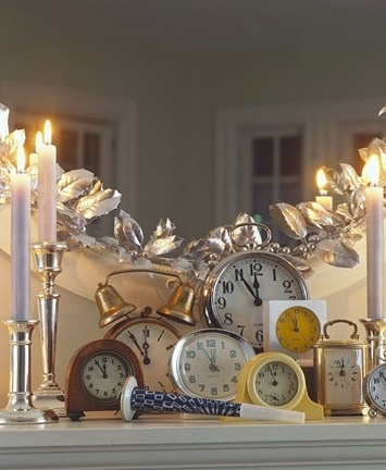Clocks! Great New Year decorations for mantle!