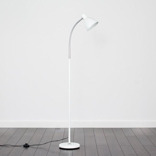 Flexi Neck Reading Floor Lamps In White White Floor Lamp Floor Lamp Contemporary Floor Lamps