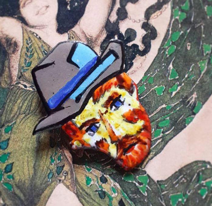 hot enamel jewelry pin Van Gogh