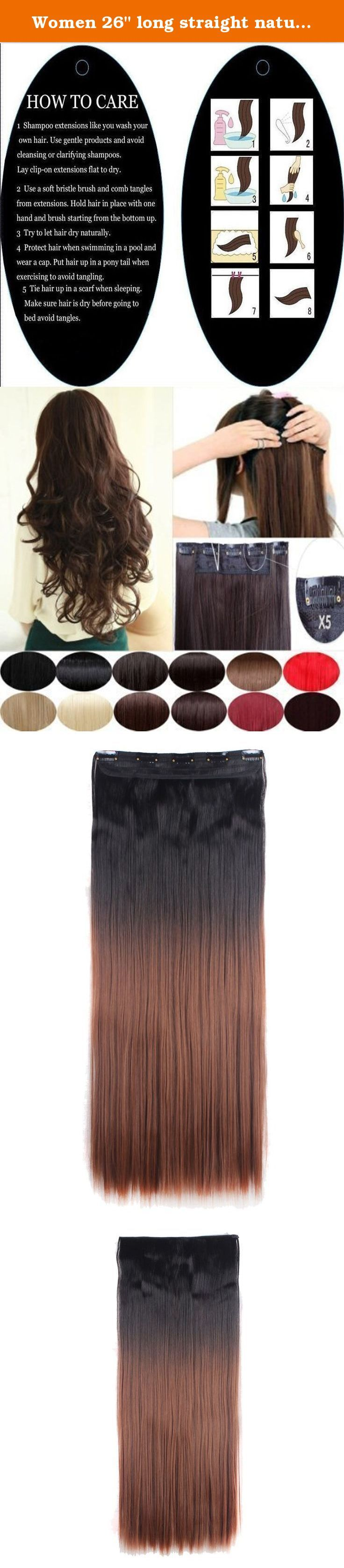 """Women 26"""" long straight natural black to auburn hair 1Pc with 5Clips 3/4 Full Head In Hair Extension. Synthetic fiber moves and feels like real human hair. This is Most affordable price and very easy to apply. Several pressure sensitive clips make attaching quick and easy. The best hair extension shopping options based on the price compare to real human hair extensions. Also the best choice for short term or entry level using. Clips opening and closing instructions: With the clip side of…"""
