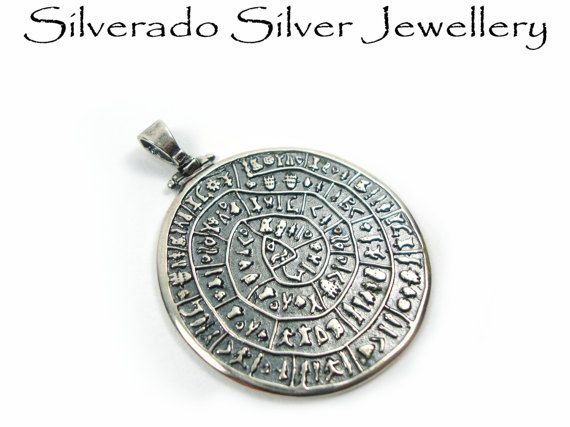 Greek Pendant, Sterling Silver 925  Minoan Phaistos Disc Pendant 39mm, Greek Jewelry, Griechisches Anhanger Schmuck, Pendetif Grec Argent on Etsy, 65,00 €