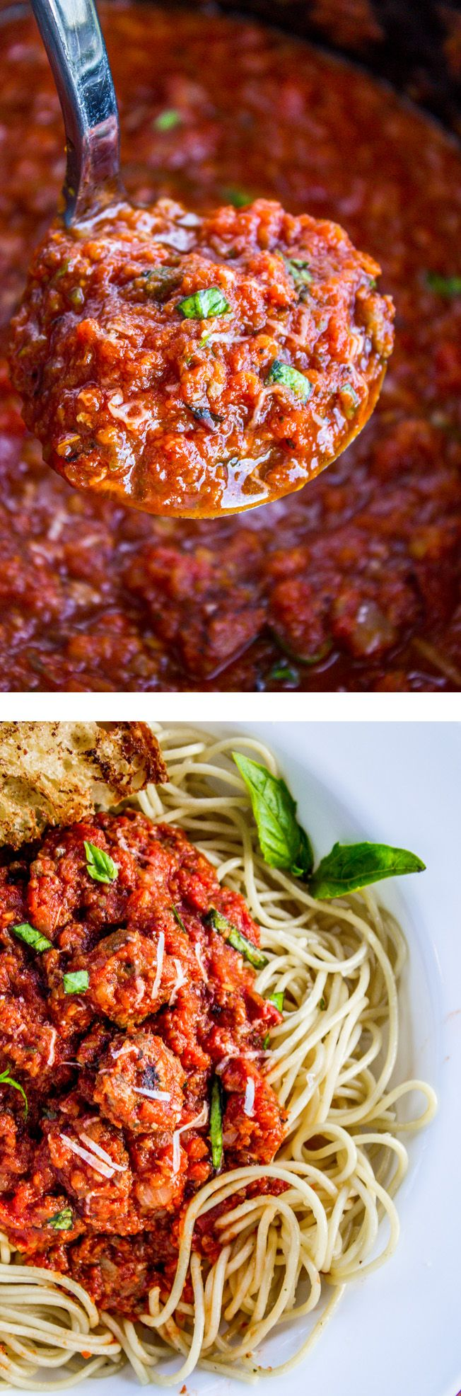 Healthy Slow Cooker Spaghetti Meat Sauce from The Food Charlatan // This recipe has zucchini and carrots hidden in it! Also chunks of sweet Italian sausage. It is so flavorful, you hardly need the pasta! (I said hardly..but let's be real) Perfect for making a huge batch and then freezing some for a rainy day.