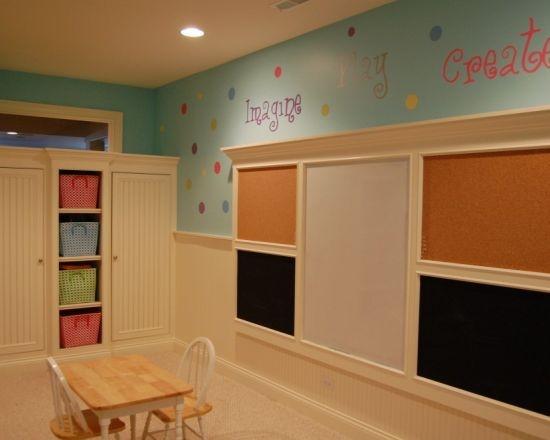 Playroom wall - bulletin board + chalkboard + wet erase board