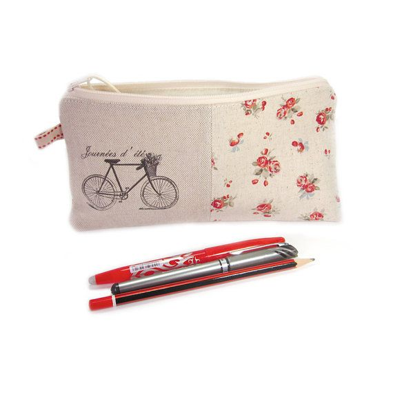 Large Pencil Case Zip Pouch Girl's Pencil Case by modernandvintage, £14.00