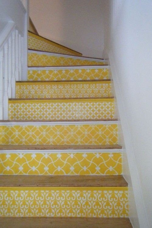 Once we get a color scheme figured out for the main floor, I think this would look brilliant on our stairs. This yellow is striking. Maybe a nautical blue or red? Maybe just black and white? So many possibilities.. #tjmaxx #maxxexpression