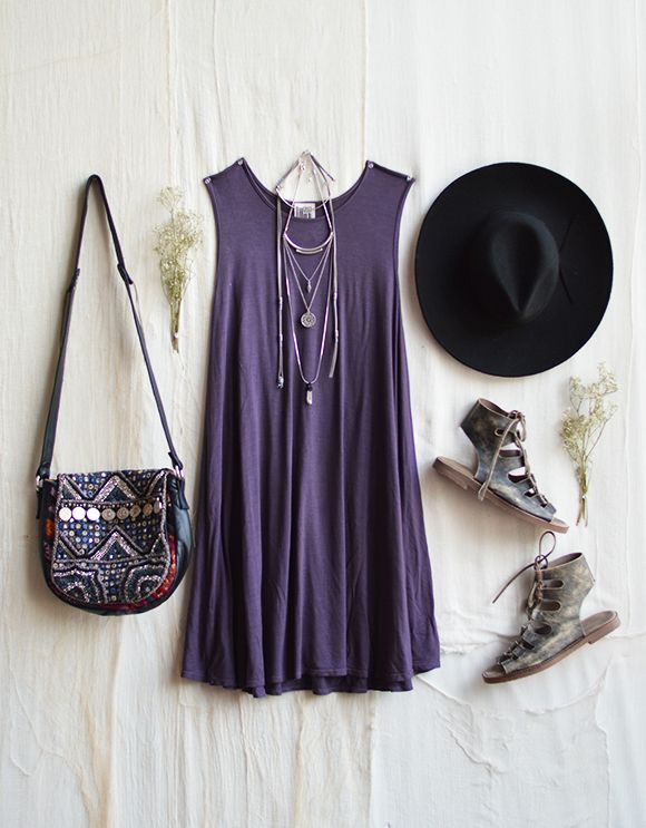 Purple Dress with Layered Necklace and Sandals