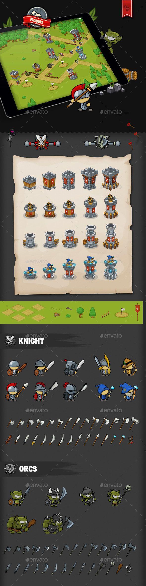 Tower Defense Game Set Knight | DOWNLOAD: https://graphicriver.net/item/tower-defense-game-set-knight/20027353?ref=sinzo #Game Kits Game #Assets