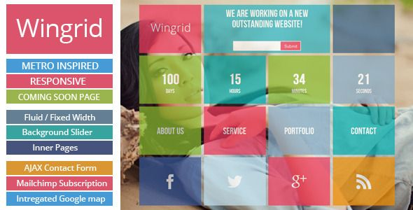 Wingrid-Metro Inspired Responsive Coming Soon Page - Under Construction Specialty Pages