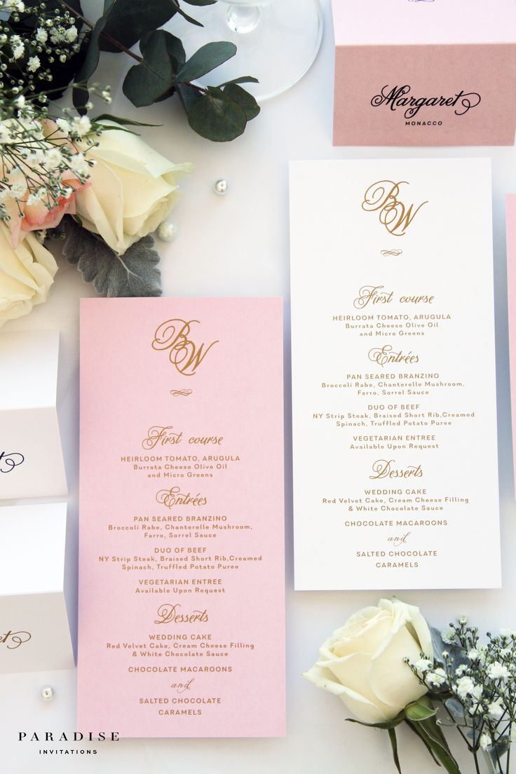Bridget Blush and Gold Ink MENUS, Printable Menus or Printed Menus, Golden Elegant Menus, Wedding Table Stationery
