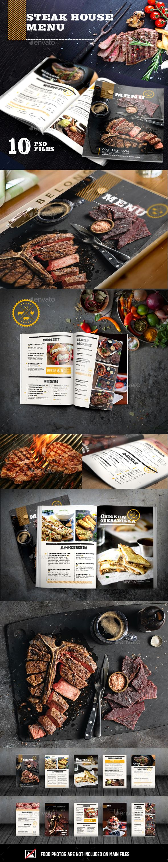 Steak House. Vintage Food Menu. Creative food menu templates for your restaurant business.  More #food #menu for your #brand you can download here ➝ https://graphicriver.net/category/print-templates/food-menus?ref=Marchiez