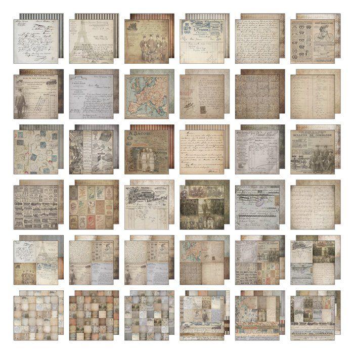 Tim Holtz French Industrial 12 x 12 Paper Stash