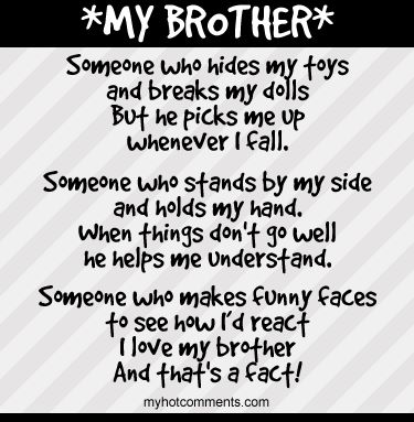 I love brother I would not change or trade anything about him because he is my brother. I love my big brother so much
