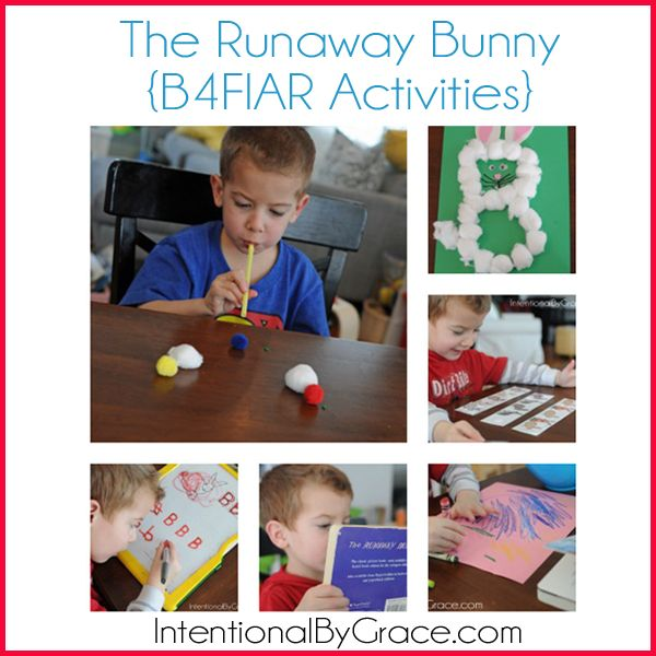 The Runaway Bunny: I like the blowing the pom-poms and the tape on the floor for walking the tight-rope activity.