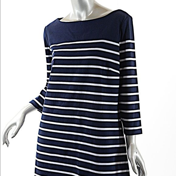 J. McLaughlin Navy/White Cotton Boatneck Tunic In Very Good Pre-owned Condition.  