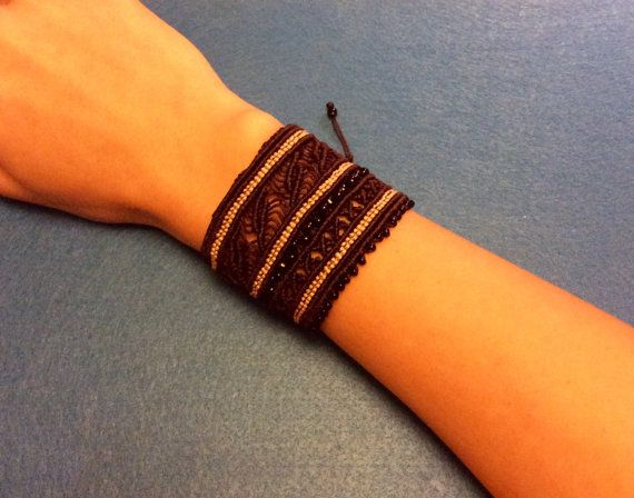 Wide macrame cuff bracelet - crosses and leaves patt rn with beads