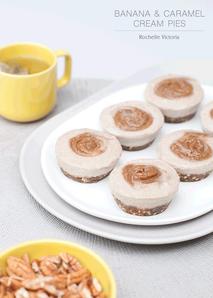 RAW DESSERT RECIPE | Banana Caramel Cream Pies refined sugar free dairy free gluten free recipes