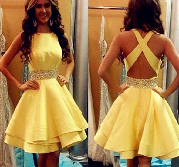 satin rhinestone homecoming dress, cheap homecoming dress, yellow