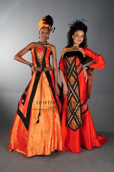 Shifting Sands Traditional African. Left - Xhosa inspired taffeta wedding dress with front panel beading. Right - Zulu inspired silk mermaid style wedding dress