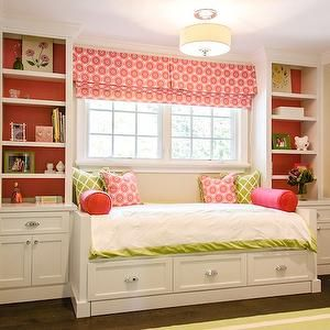 Full-sized day bed under windows with book shelves on either side will give her more floor space and lots of storage.