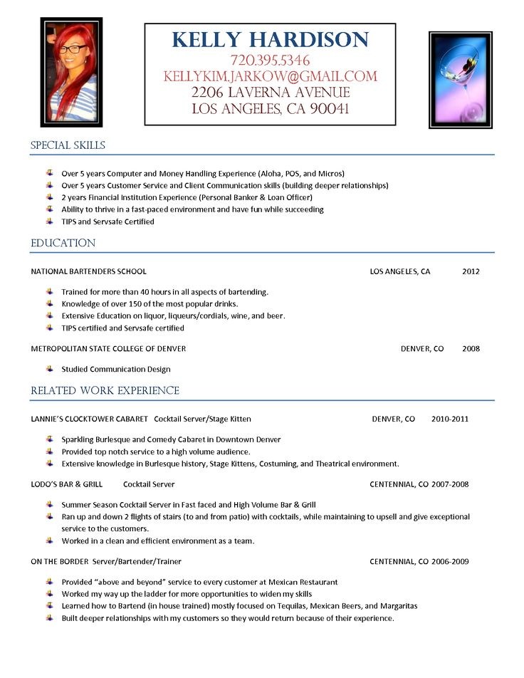resume template for bartender     resumecareer info  resume