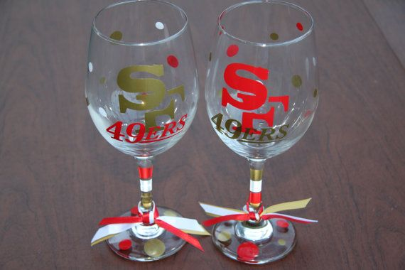 San Francisco 49ers Wine Glass by GameDayCheers on Etsy, $24.00 for the set 2 or $12.00 for 1