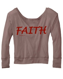 Faith. A simple word that is the foundation of all we do. Remind yourself and others: there's no need to give up when we have One that gives us hope.  Sizes: S-2XL. Long sleeve dolman tee. Available in charcoal gray and pebblestone brown with metallic accents.