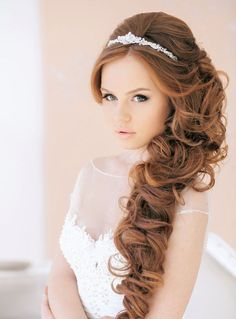 curly wedding hairstyle for long hair with tiara headband