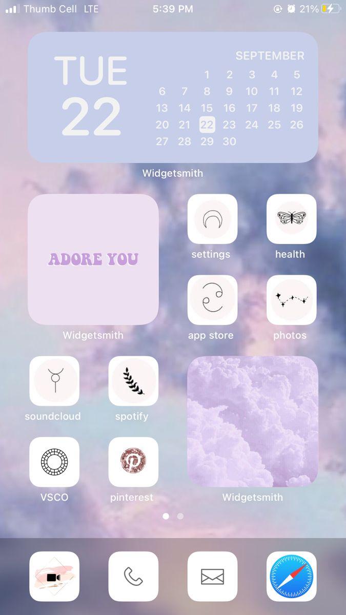 Ios 14 Home Screen Idea Iphone Home Screen Layout Iphone Photo App Iphone Wallpaper App
