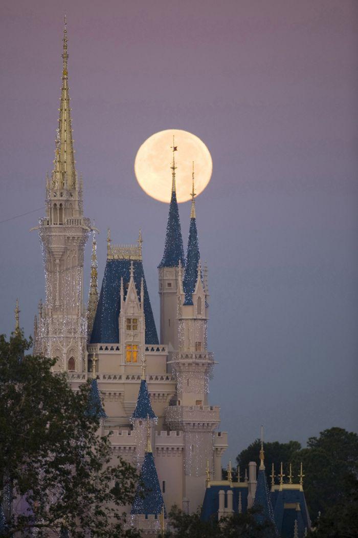 Full moon behind Cinderella's castle