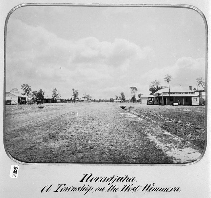 The main street in Noradjuha with the Commercial Hotel on the right and H. Kruger Grocery on the left, 1885