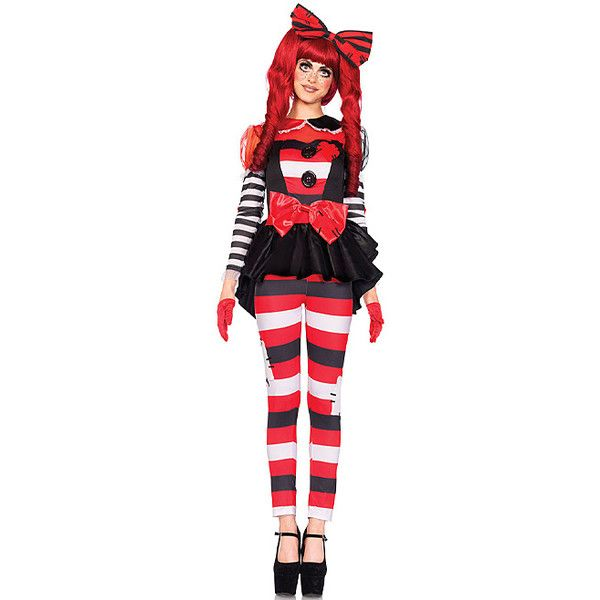 Leg Avenue Red & Black Stripe Rag Doll Costume Set ($13) ❤ liked on Polyvore featuring costumes, leg avenue costumes, babydoll costume, leg avenue, doll halloween costume and red costume