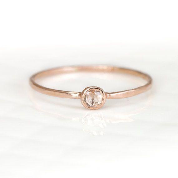 Rose Cut Diamond Ring, 14k Rose Gold Stacking Ring, 3mm White Diamond Engagement Ring, Delicate Wedding Ring