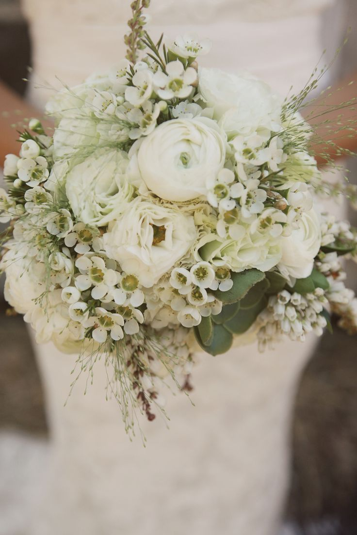 168 best wax flower wedding images on pinterest marriage white wedding bouquet with ranunculus waxflower lisianthus and grasses dhlflorist Choice Image