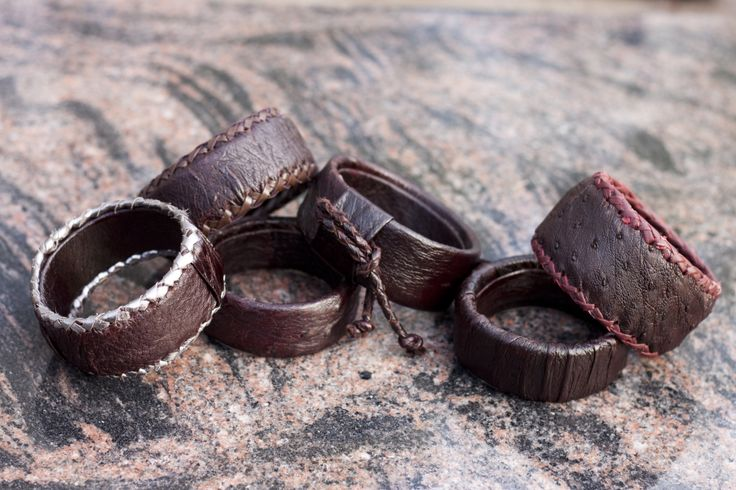 Handmade bracelets from natural ostrich leather
