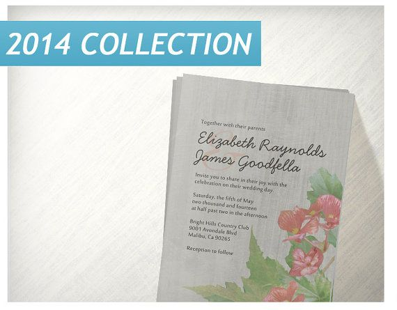 Vintage Begonia Wedding Invitations