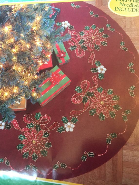5 Different Made to order Bucilla Christmas tree skirt