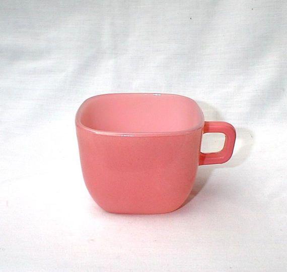 Pink Glasbake Square Lipton Cup Mug J 2265