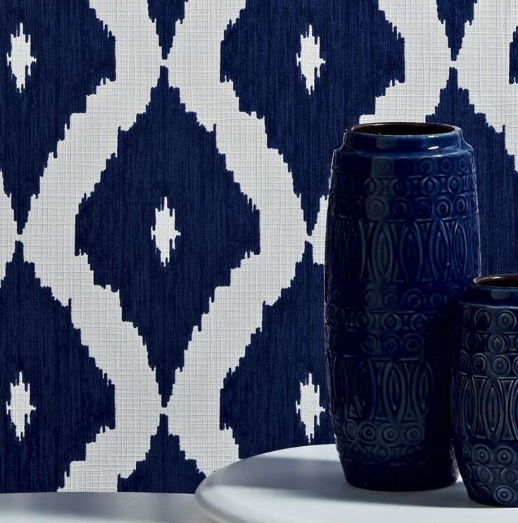 Kelly Hoppen Navy/Royal Blue and White Ikat Linen Look Wallpaper - Geometric