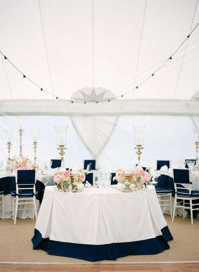 Nautical navy + pink wedding decor: http://www.stylemepretty.com/2016/01/20/nautical-navy-pink-florida-wedding/ | Photography: KT Merry - http://www.ktmerry.com/