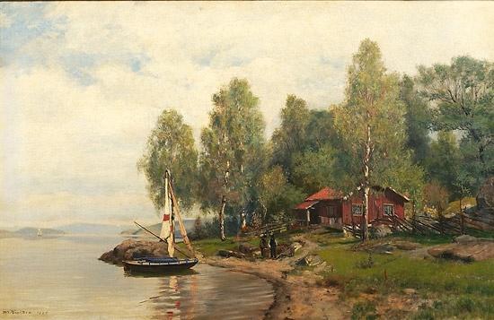 Nils Hansteen (1855-1912): Fjordlandskap med seilbåt og folkeliv 1886