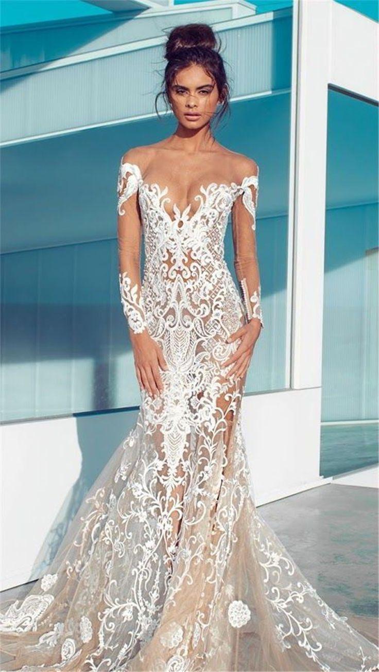 Glamorous Deep V Neckline Floral Wedding Dress
