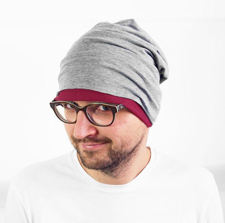 dwustronna czapka szary melanż plus fuksja #wiskoza #czapka #cap