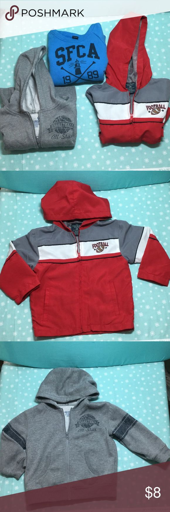 Reduced!!  Lot of 3 Shirts 3 Pieces! One Price!!! Faded Glory Football jacket w/ hood & pockets (24m), Okie-Dokie Basketball Sweat Jacket w/ hood & pockets (18m), Blue Baby Gap Sweatshirt (18-24m). okie dokie, Baby Gap, Faded Glory Jackets & Coats