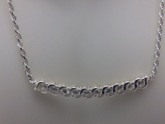 Vintage Sterling Silver Rhinestone Bar by TheJewelryCabinet, $65.00
