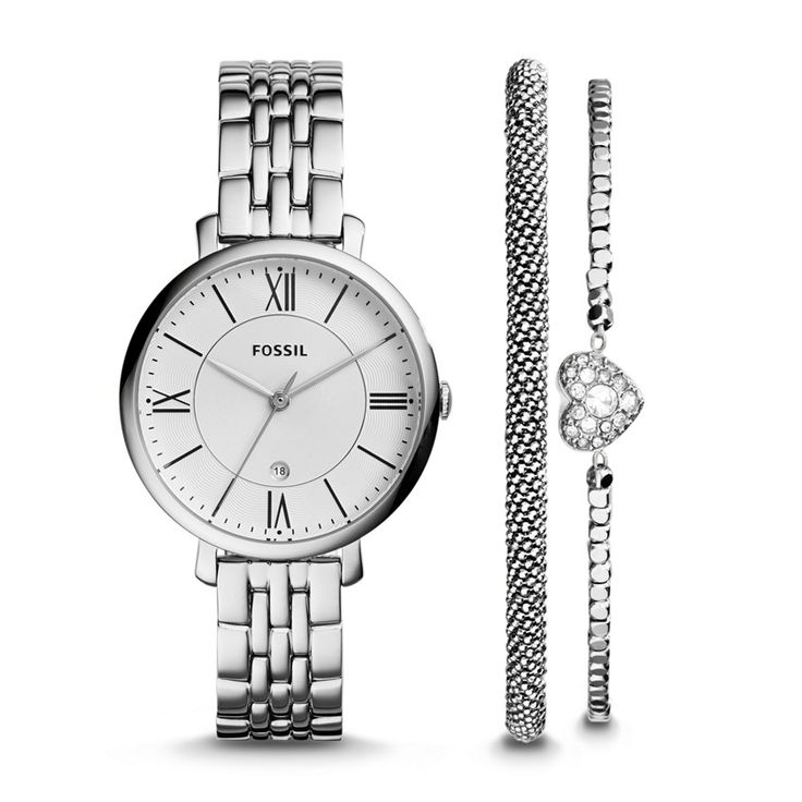 ES3698SET - Fossil Jacqueline Three-Hand Date Stainless Steel Watch and Bracelet Set