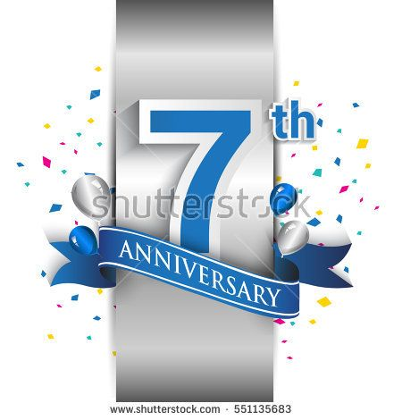 7th anniversary logo with silver label and blue ribbon, balloons, confetti. seven Years birthday Celebration Design for party, and invitation card
