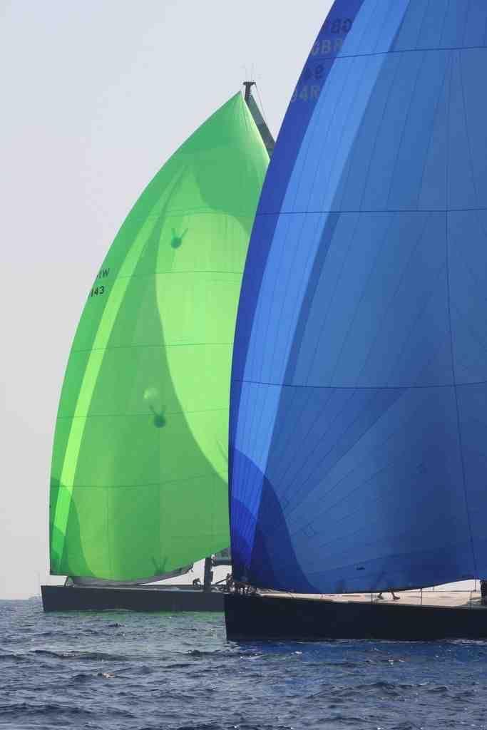 superyacht downwind racing under spinnaker