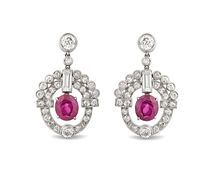Art Deco Burma Ruby and Diamond Earrings by Cartier
