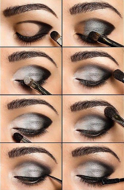 white gray black eye make up
