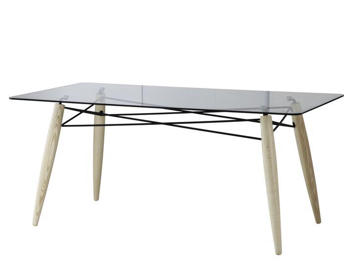 Mesa Souv - Cubierta de vidrio, patas de madera y estructura metálica negra.